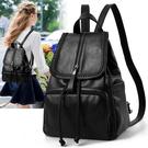 雙肩包女時尚新款女士軟皮包包大書包韓版大容量背包 流行花園