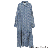 「Hot item」滿版花朵拼接下襬洋裝 - Green Parks
