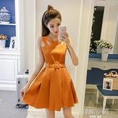2020年夏裝小個子無袖吊帶超仙收腰裙子學生甜美小清新洋裝女夏 【韓語空間】