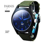 【完全計時】手錶館│PARNIS 軍錶風格 三眼計時飛行款 日期格窗PA3092 質感藍 男錶新品 現貨