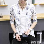 男士夏季短袖西服韓版修身半袖鏤空小西裝印花防曬衣七分袖外套潮   麥琪精品屋