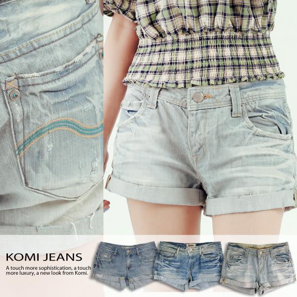 牛仔短褲【KOMI】 玫瑰洗白牛仔反折短褲 (1696-302008)