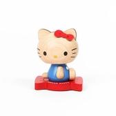 小禮堂 Hello Kitty 造型木質搖搖公仔 彈簧擺飾 木偶擺飾 (棕紅 側坐) 4711717-30716