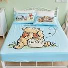 床包 / 雙人【維尼小熊-蜂蜜小事(藍色)】含兩件枕套 高密度磨毛 戀家小舖台灣製