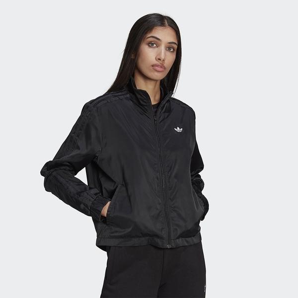 Adidas ORIGINALS BELLISTA 女裝 外套 立領 不對稱 金屬紗線三葉草 黑【運動世界】GN3153