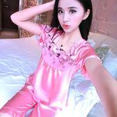 睡衣可愛女士夏季短袖套裝薄款性感兩件套冰絲絲綢春秋新款家居服
