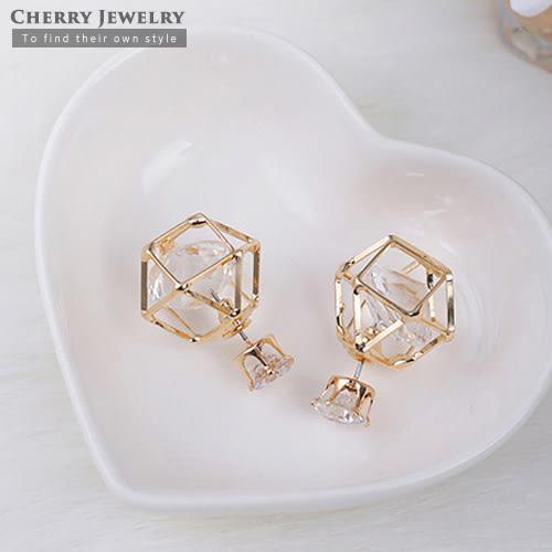 水晶魔方造型耳環 10241【櫻桃飾品】【10241】