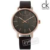 CK / K7B216G3 / EVEN 沉靜雅緻岩紋皮革手錶 灰x玫瑰金框x深褐 42mm