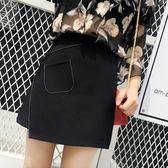 618好康鉅惠半身裙高腰顯瘦A字包臀裙女學生碼黑色短裙