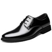 皮鞋男士韓版商務休閒真皮秋季加絨保暖英倫黑色內增高正裝男鞋子 酷男精品館