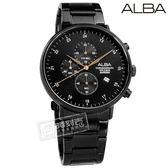 ALBA / VD57-X146SD.AM3665X1 / 競速三眼 藍寶石水晶玻璃 計時碼錶 日期 不鏽鋼手錶 鍍黑 44mm