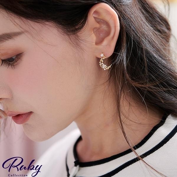 耳環 韓國直送‧水鑽星星珍珠月亮耳環-Ruby s 露比午茶