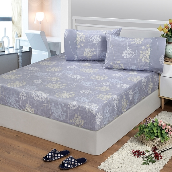 【FITNESS】精梳棉單人床包+枕套二件組-海蒂(灰紫)_TRP多利寶