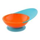 寶寶輔食訓練防摔吸盤碗輔食碗兒童餐具餐盤 藍橙色 錢夫人小舖