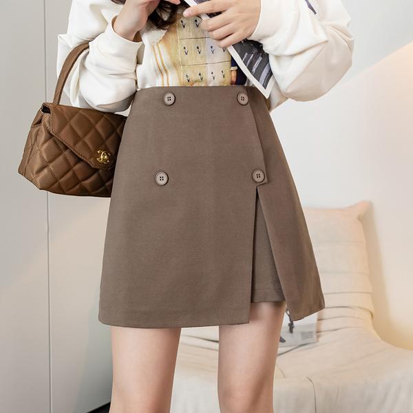 VK旗艦店 韓國風名媛顯瘦收腰雙排釦剪裁氣質單品短裙