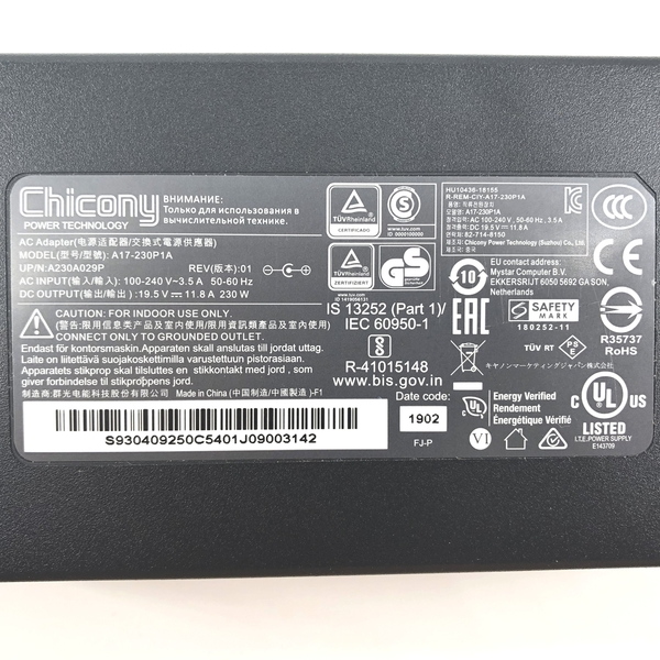 群光 Chicony MSI 230W 原廠變壓器 A17-230P1A A230A029P Clevo P671HS-G Hasee ZX8-CR5S1 Gigabyte AERO 15-Y9-4K80P