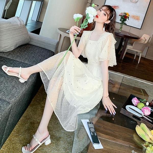 小洋裝 爆款裙子法式復古小個子女裝高腰顯瘦方領連身裙N718快時尚