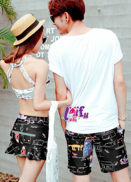 ★草魚妹★A120情侶泳衣塗塗畫男生沙灘褲材質一件580元