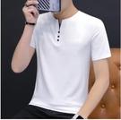 夏季棉質短袖男t恤V領2021男裝韓版潮流潮純色上衣服運動打底衫 百分百