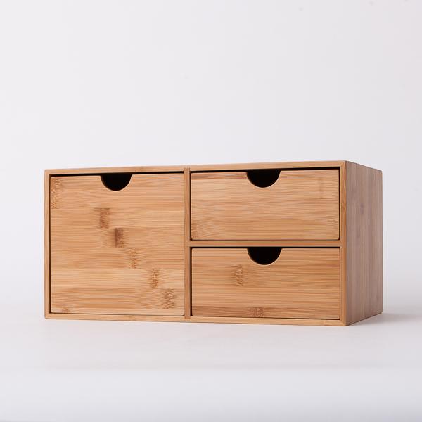 竹意直式三抽收納盒-生活工場