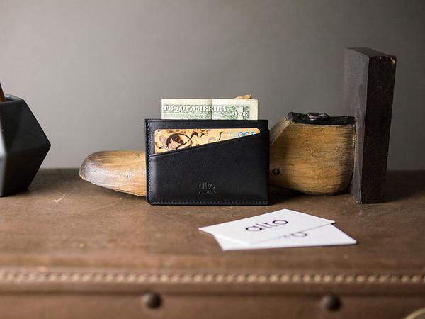 輕便名片夾 Slim Card Holder - 渡鴉黑【可加購客製雷雕】卡夾 鈔票夾