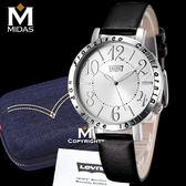 LEVIS 女錶 石英錶 真皮錶帶 大錶面設計 Levi's 女用手錶 經典盒裝/黑皮帶白錶面/38.5mm