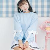 衛衣女日系秋冬學生少女可愛軟妹蝴蝶結泡泡袖加絨上衣服 中秋節搶購