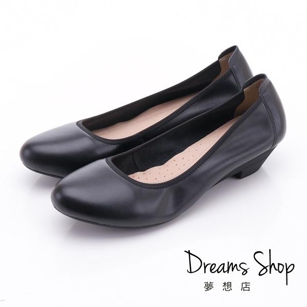 大尺碼女鞋41-44 夢想店 上班族首選真皮靜音鞋跟防滑耐磨工作鞋3.5cm【LS181-037】黑色