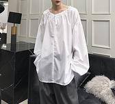 FINDSENSE H1 2018 夏季 新款 個性 抽繩 燈籠袖 長袖 襯衫