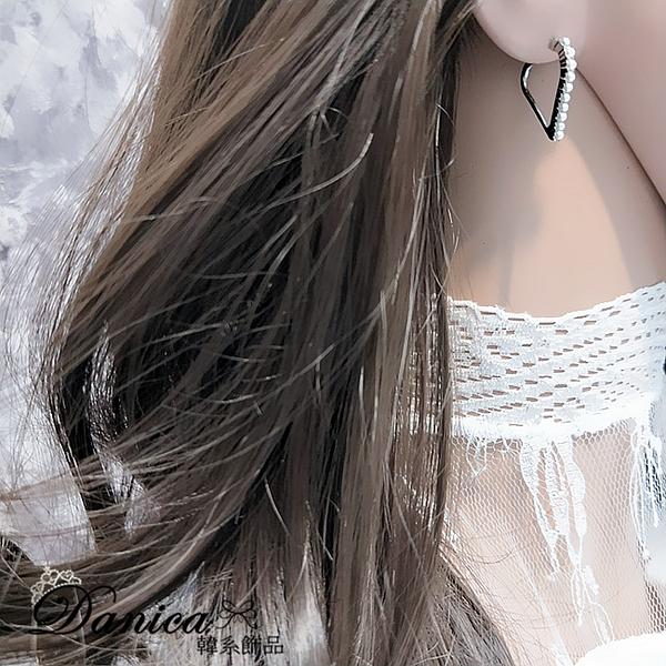 現貨 韓國氣質甜美簡約立體幾何愛心珍珠925銀針耳環 S93444 批發價 Danica 韓系飾品 韓國連線
