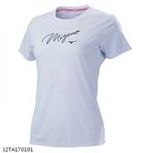 MIZUNO 女裝 短袖 T恤 吸汗速乾 抗紫外線 咖啡紗抗臭 草寫 白【運動世界】32TA170101