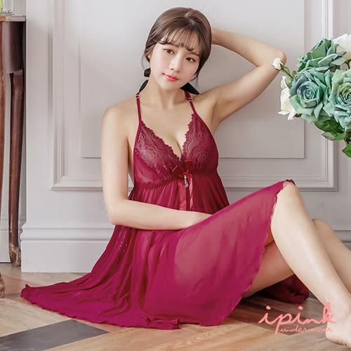 i PINK 詩情愛意 奢華蕾絲美背網紗連身裙睡衣(酒紅)