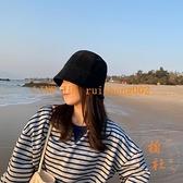 漁夫帽子韓版潮流夏季百搭薄款休閒直筒平頂帽水桶帽【橘社小鎮】