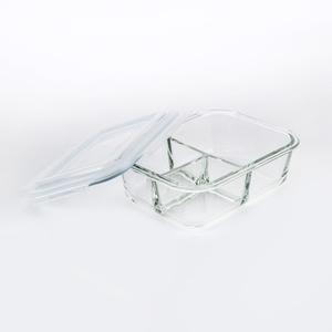 HOLA 微烤兩用玻璃三格保鮮盒-950ml