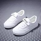 童鞋兒童帆布鞋春季新款皮面小白鞋男女童運動鞋球鞋學生板鞋