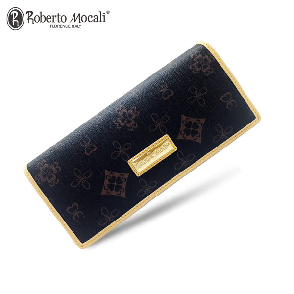 【Roberto Mocali 諾貝兔】時尚優雅黑金皮夾系列 幸運草壓紋暗扣兩折式長夾