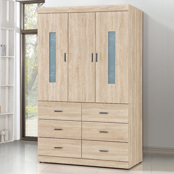 衣櫥【時尚屋】[5U7]印花原切橡木4x7尺下六抽衣櫥5U7-176-47免運費/免組裝/臥室系列/衣櫥