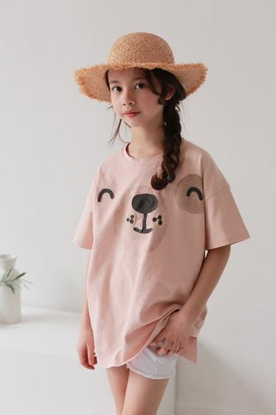 大童 純棉 可愛海狗豆沙粉短T 春夏童裝 女童棉T 女童上衣 女童短袖 女童T恤 親子裝