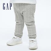 Gap嬰兒 甜美純棉針織內搭褲 702284-灰色