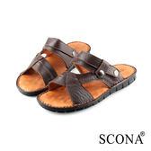 SCONA 蘇格南 全真皮 手工精縫兩穿式涼拖鞋 咖啡色 1739-2
