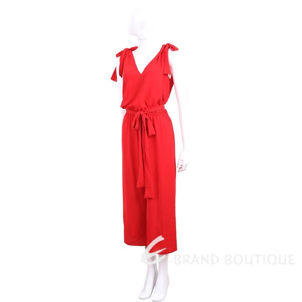 Michael Kors Crepe V領綁肩細節紅色縐紗連身褲 1930261-54