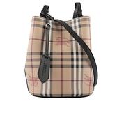 【BURBERRY】Haymarket格紋皮革斜背水桶包(黑色) 40571581