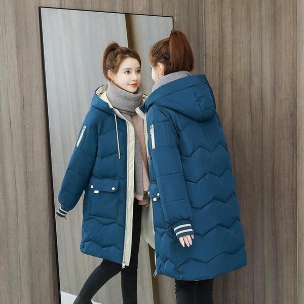 羽絨棉服 反季中長款羽絨棉服女韓版寬鬆棉襖2021年新款冬裝小個子棉衣外套 歐歐