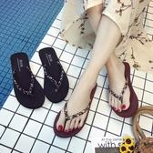 簡約人字拖女時尚海邊防滑夾腳沙灘平底跟外穿涼拖鞋韓版 交換禮物
