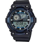 【CASIO 卡西歐】世界時間地圖手錶-藍黑 AEQ-200W-2AVDF