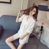 睡衣女夏性感情趣誘惑白襯衫女中長款2018新款夏季超薄睡裙老公裙