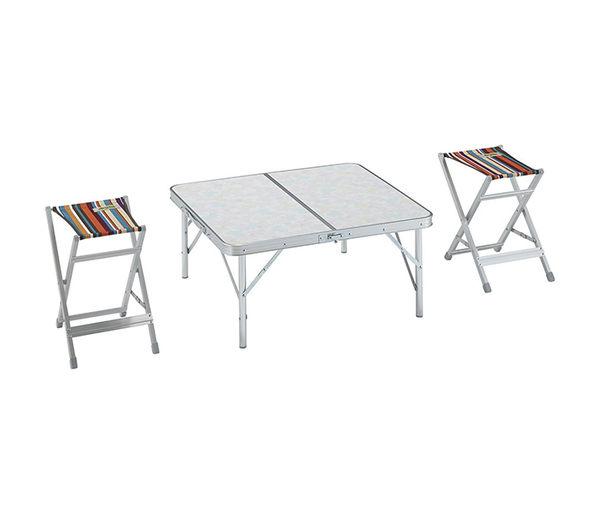丹大戶外【LOGOS】日本兩段式一桌條紋雙凳折疊桌椅組/折合情侶雙人桌椅/置物桌 73183009