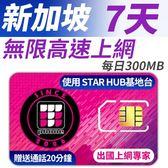 新加坡 7天無限上網 每天前面300MB支援4G高速 贈送當地通話20分鐘