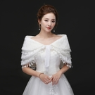 三層流蘇保暖白色婚紗毛披肩...