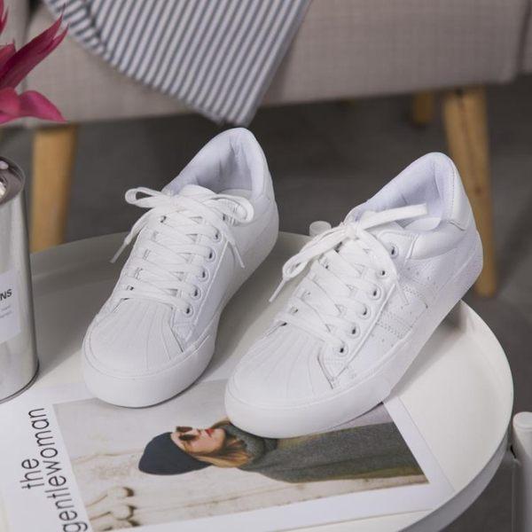 韓版百搭小白鞋 女學生平底休閒板鞋【多多鞋包店】z3340
